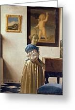 Lady Standing At The Virginal Greeting Card by Jan Vermeer