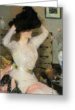 Lady Trying On A Hat Greeting Card by Frank Weston Benson