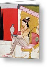 Lady With A Hawk Greeting Card by Guler School