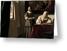 Lady Writing A Letter With Her Maid Greeting Card by Jan Vermeer