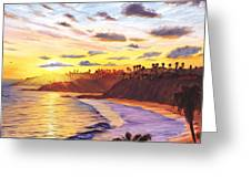 Laguna Village Sunset Greeting Card by Steve Simon