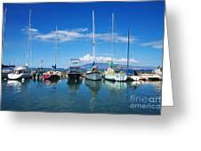 Lahaina In Blue Greeting Card by Ron Dahlquist - Printscapes