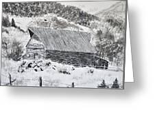 Lake City Barn Greeting Card by Judy Sprague