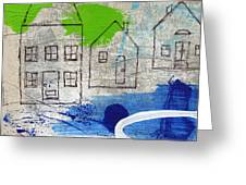 Lake Houses Greeting Card by Linda Woods