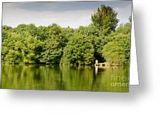 Lake Jetty Dinton Pastures Lakes And Nature Reserve Shore Line Greeting Card by Andy Smy
