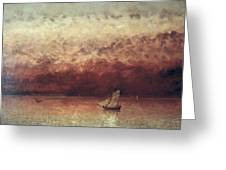 Lake Leman with Setting Sun Greeting Card by Gustave Courbet