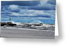 Lake Michigan with Big Wind  Greeting Card by Michelle Calkins
