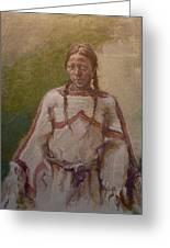 Lakota Woman Greeting Card by Ellen Dreibelbis