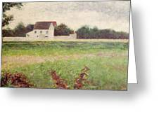 Landscape In The Ile De France Greeting Card by Georges Pierre Seurat