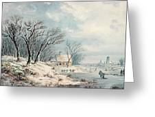 Landscape In Winter Greeting Card by JJ Verreyt