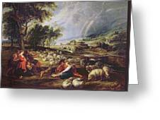 Landscape With A Rainbow Greeting Card by Rubens
