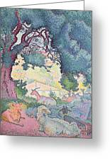 Landscape With Goats Greeting Card by Henri-Edmond Cross