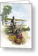 Langley Boy And Dog Greeting Card by Judi Nyerges
