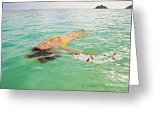 Lanikai Floating Woman Greeting Card by Tomas del Amo - Printscapes