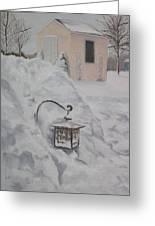 Lantern In The Snow Greeting Card by Lea Novak