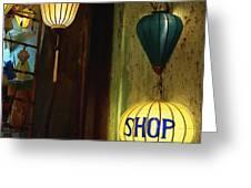 Lanterns At A Gift Shop Entrance Greeting Card by Skip Nall
