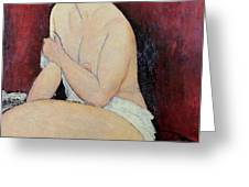 Large Seated Nude Greeting Card by Amedeo Modigliani