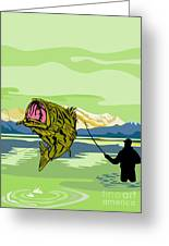 Largemouth Bass Fish Jumping Greeting Card by Aloysius Patrimonio