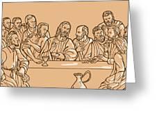 last supper of Jesus Christ Greeting Card by Aloysius Patrimonio