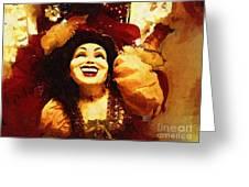 Laughing Gypsy Greeting Card by Deborah MacQuarrie