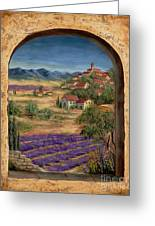 Lavender Fields And Village Of Provence Greeting Card by Marilyn Dunlap