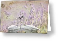 Lavender Swans Zen  Love Greeting Card by ArtyZen Studios