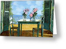 Le Rose E Il Balcone Greeting Card by Guido Borelli