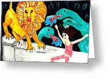 Leap Away from the Lion Greeting Card by Sushila Burgess