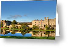 Leeds Castle And Moat Reflections Greeting Card by Chris Thaxter