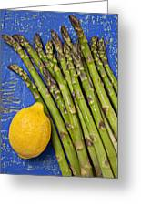 Lemon And Asparagus  Greeting Card by Garry Gay