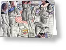 Les Demoiselles Of Santa Cruz V8 Greeting Card by Susan Cafarelli Burke