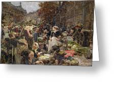 Les Halles Greeting Card by Leon Augustin Lhermitte