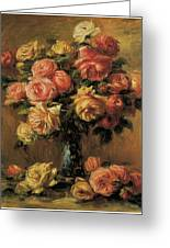 Les Roses Dans Un Vase Greeting Card by Pierre-Auguste Renoir