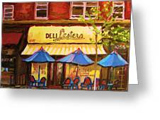 Lesters Cafe Greeting Card by Carole Spandau