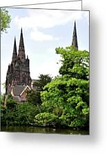 Lichfield Cathedral From Minster Pool Greeting Card by Rod Johnson