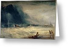 Lifeboat And Manby Apparatus Going Off To A Stranded Vessel Making Signal Of Distress Greeting Card by Joseph Mallord William Turner