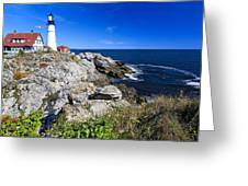 Lighthouse At Cape Elizabeth Greeting Card by George Oze