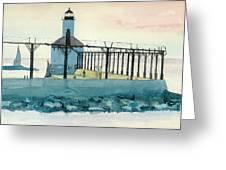 Lighthouse In Michigan City Greeting Card by Lynn Babineau