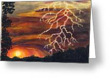 Lightning At Sunset Greeting Card by Tanna Lee M Wells