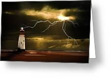 lightning storm Greeting Card by Meirion Matthias