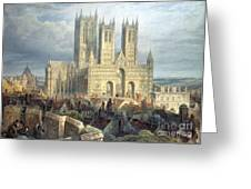 Lincoln Cathedral From The North West Greeting Card by Frederick Mackenzie