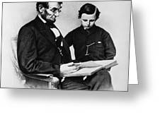 Lincoln Reading To His Son Greeting Card by Photo Researchers