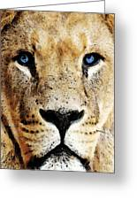Lion Art - Blue Eyed King Greeting Card by Sharon Cummings