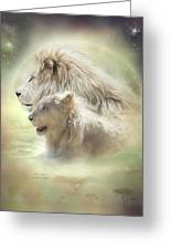 Lion Moon Greeting Card by Carol Cavalaris