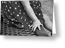 Little Girl Hand Polka Dot Dress Greeting Card by Tracie Kaska