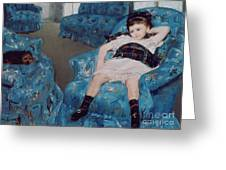 Little Girl in a Blue Armchair Greeting Card by Mary Stevenson Cassatt