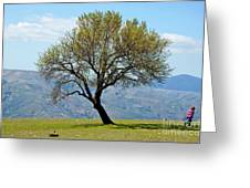Little Girl Walking Past A Tree In Springtime Greeting Card by Sami Sarkis