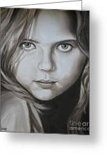 Little Girl With Green Eyes Greeting Card by Jindra Noewi