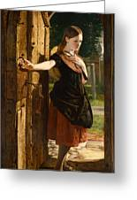 Little Nell Leaving The Church Greeting Card by James Lobley