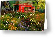 Little Red Flower Shed Greeting Card by John Lautermilch